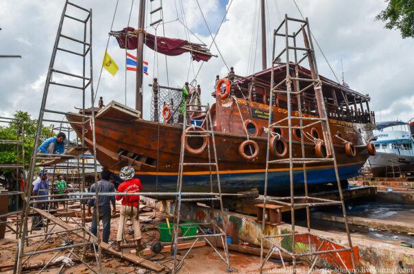 Как чинят корабли на тайской верфи